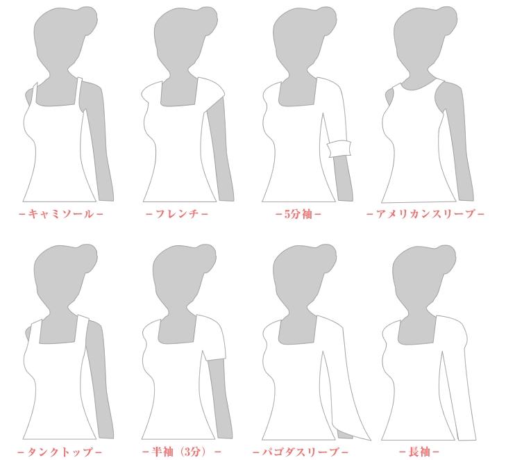 ウェディングドレスの種類(スリーブデザイン、ネックデザイン)